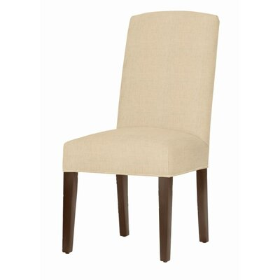 Asbury Upholstered Dining Chair Leg Color: Brown Cherry, Upholstery Color: Linen