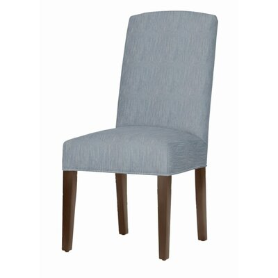 Asbury Upholstered Dining Chair Leg Color: Brown Cherry, Upholstery Color: Denim
