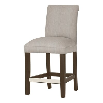Donald 26 Bar Stool Leg Color: Dark Walnut, Upholstery Color: Stone