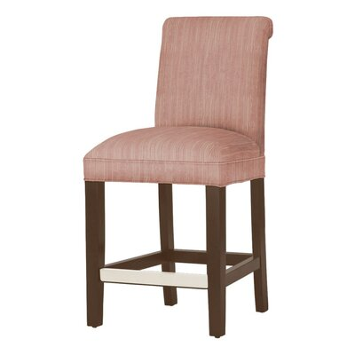 Donald 26 Bar Stool Leg Color: Brown Cherry, Upholstery Color: Vintage Red