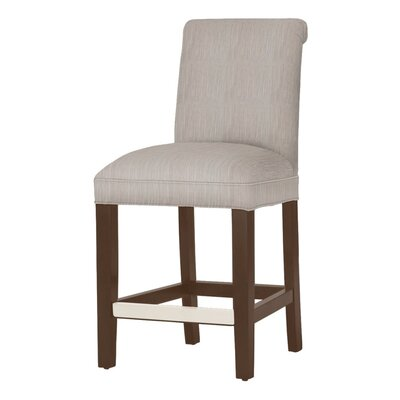 Donald 26 Bar Stool Leg Color: Brown Cherry, Upholstery Color: Stone