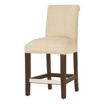 Donald 26 Bar Stool Leg Color: Brown Cherry, Upholstery Color: Linen