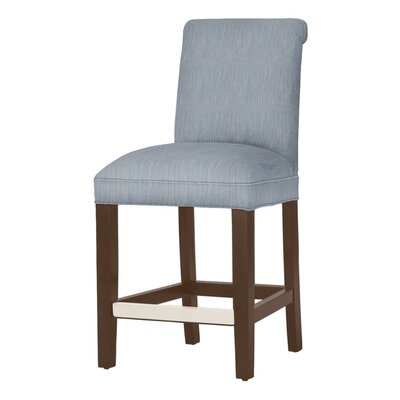 Donald 26 Bar Stool Leg Color: Brown Cherry, Upholstery Color: Denim