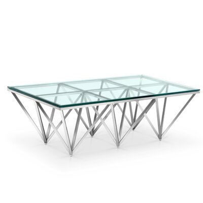 Soma Coffee Table Color: Polished Stainless Steel, Size: 15 H x 47 W x 24 D