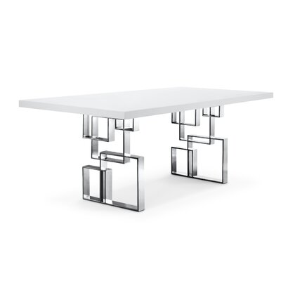 Maria Dining Table Base Color/Top Color: Silver/White, Size: 30 H x 39 W x 79 L