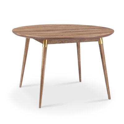 Sloan Round Dining Table Finish: Natural Walnut with Gold Tube