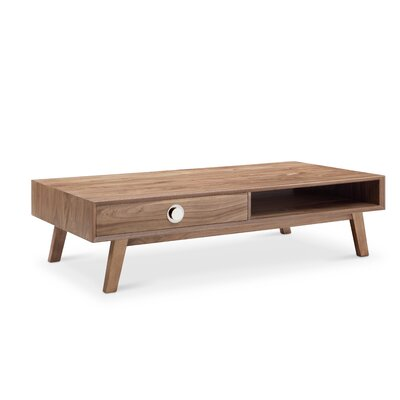 Sloan Rectangular Coffee Table Color: Natural Walnut with Silver