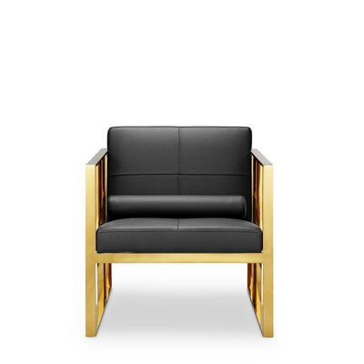 Mona Armchair Frame Finish: Polished Gold