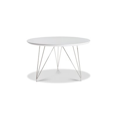 Newman Dining Table Base Color: Silver, Top Color: White