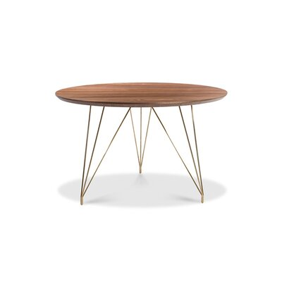 Newman Dining Table Base Color: Gold, Top Color: Brown