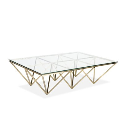 Soma Coffee Table Color: Gold, Size: 15 H x 53 W x 35 D