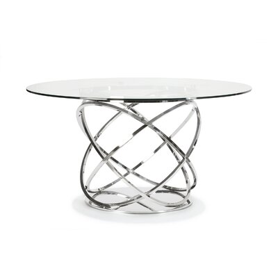 Orbit Dining Table Base Color: Polished stainless steel, Size: 58 L x 58 W x 30 H