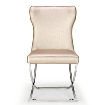 Derringer Upholstered Dining Chair (Set of 2) Upholstery Color: Champagne