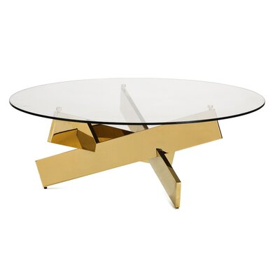 Bella Coffee Table Color: Gold Polished Stainless Steel