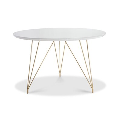 Newman Dining Table Base Color: Gold, Top Color: White