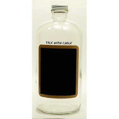 "Boston Round Chalkboard Decorative Bottle Size: 8.25"" H X 3.5"" W X 3.5"" D"