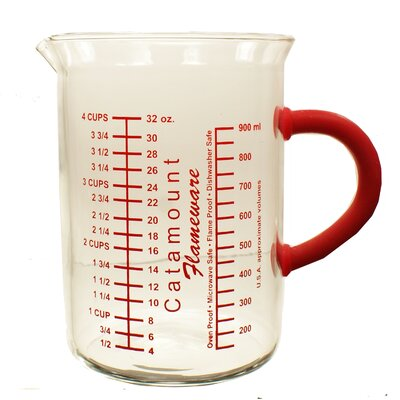 4 Cup Glass Measuring Cup with Handle Color: Red CGS4489R