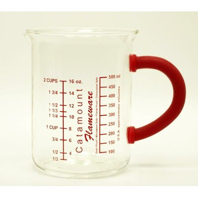 2 Cup Glass Measuring Cup with Handle Color: Red CGS4472R