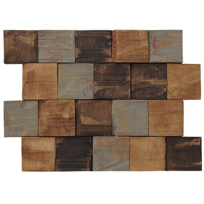 Terra Kayu Contours 9.45 x 12.99 Teakwood Hand-Painted Tile in Brown and Gray