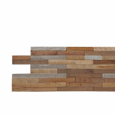 Terra Kayu Lofts 7.87 x 23.62 Teakwood Hand-Painted Tile in Brown and Gray