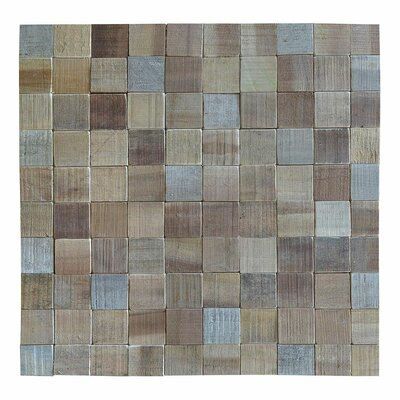 Terra Kayu Checkerboard 15.75 x 15.75 Teakwood Hand-Painted Tile in Brown and Gray