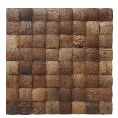 Kelapa 15.75 x 15.75 Coconut Shell Hand-Painted Tile in Grand Desert Grain