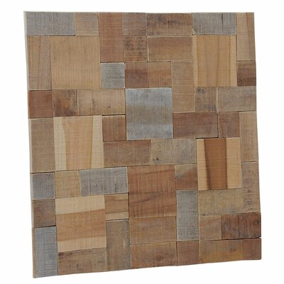 Terra Kayu Large 8.27 x 8.27 Teakwood Mosaic Tile in Brown and Gray