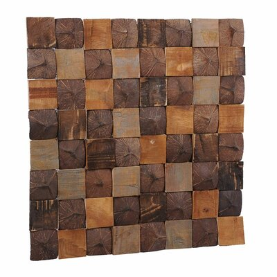Artistica 15.75 x 15.75 Teakwood and Coconut Shell Mosaic Tile in Aztec Patchwork