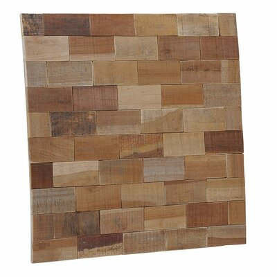 Terra Kayu Subway 15.75 x 15.75 Teakwood Hand-Painted Tile in Brown and Gray