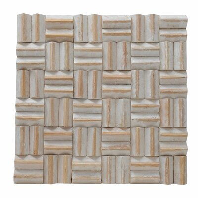 Terra Thatch 16.54 x 16.54 Teakwood Hand-Painted Tile in Coral