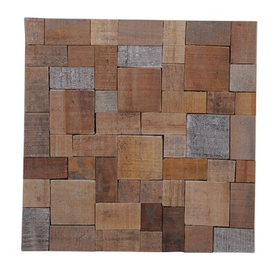 Terra Kayu 15.75 x 15.75 Teakwood Mosaic Tile in Brown and Gray