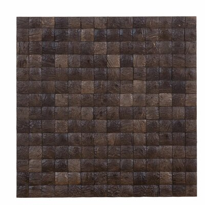 Kelapa 16.54 x 16.54 Coconut Shell Hand-Painted Tile in Espresso Grain
