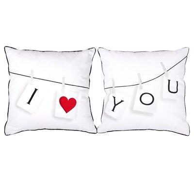 2 Piece I Love You Cotton Throw Pillow Set