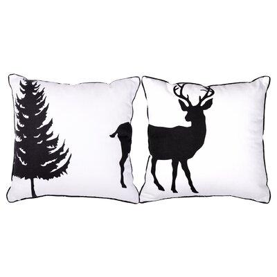 2 Piece Deer Outdoor Cotton Throw Pillow Set