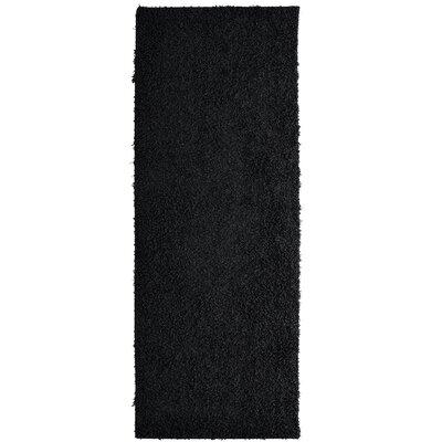 Shag-Ola Black Area Rug Rug Size: Runner 2 x 8