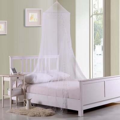 Jaymes Kids Collapsible Hoop Sheer Bed Canopy Color: White