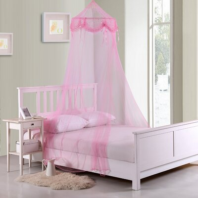 Buttons and Bows Kids Collapsible Hoop Sheer Bed Canopy Color: Pink