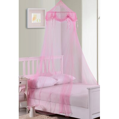 Buttons and Bows Kids Collapsible Hoop Sheer Bed Canopy