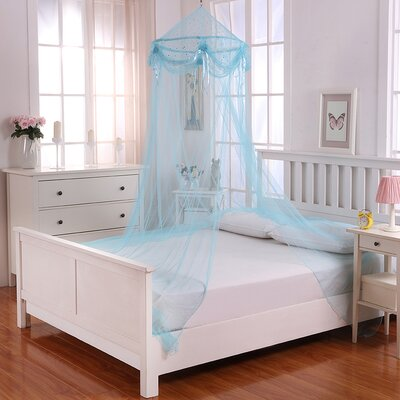 Buttons and Bows Kids Collapsible Hoop Sheer Bed Canopy Color: Blue