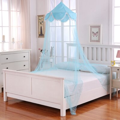 Pom Pom Kids Collapsible Hoop Sheer Bed Canopy Color: Blue