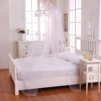 Buttons and Bows Kids Collapsible Hoop Sheer Bed Canopy Color: White