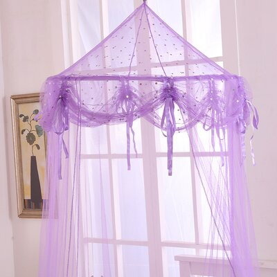 Buttons and Bows Kids Collapsible Hoop Sheer Bed Canopy Color: Purple
