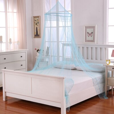 Galaxy Kids Collapsible Hoop Sheer Bed Canopy Color: Blue