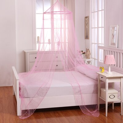 Galaxy Kids Collapsible Hoop Sheer Bed Canopy Color: Pink