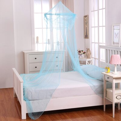 Raisinette Kids Collapsible Hoop Sheer Bed Canopy Color: Blue