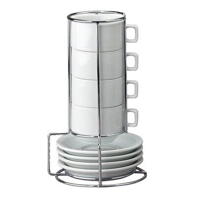 HIC Harold Import Co. 9 Piece Stackable Espresso Coffee Tea Set NT313