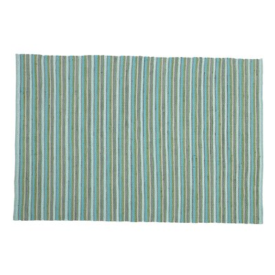 Rag Hand-Woven Aqua/Green Area Rug