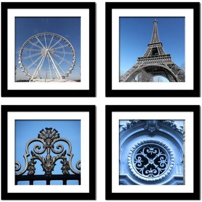 'Paris in Blue' 4 Piece Framed Photographic Print Set