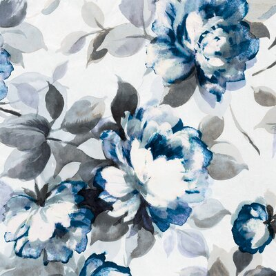 'Scent of Roses Indigo II' Painting Print on Canvas