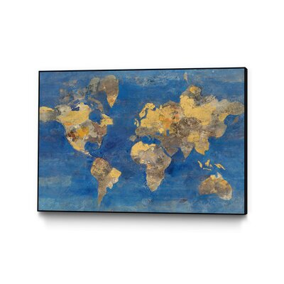 "'Golden World' Graphic Art Print Format: Black Framed, Size: 22"" H x 28"" W GWA20719_2822AB"